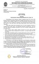 Surat Edaran Camat Gondokusuman Kepada Pelaku Usaha di Wilayah Kecamatan Gondokusuman tentang Pencegahan Corona Virus Disease (Covid-19)