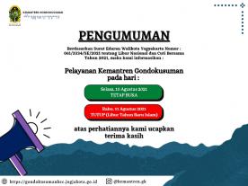 SURAT EDARAN WALIKOTA YOGYAKARTA NOMOR : 061/3334/SE/2021 tentang Libur Nasional dan Cuti Bersama